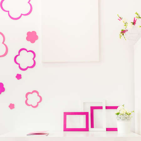 desk area: Image of study area with white desk for girl Stock Photo