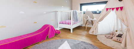 room decor: Panoramic picture of a cozy modern baby room