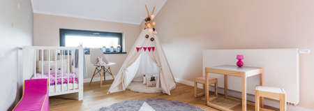 children play area: Shot of a creative kids room with a tent