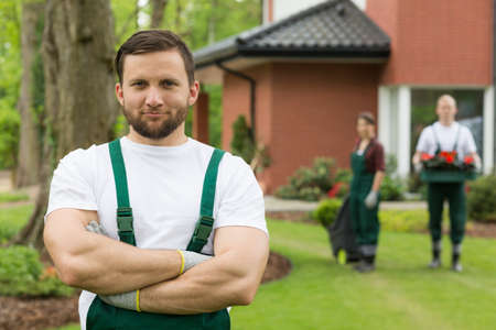 brown haired: Brown haired male gardener with beard and crossed arms