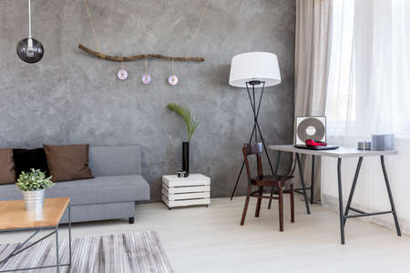 interior shot: Cropped shot of a minimalistic living room interior with a gray sofa
