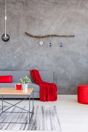 room accents: Shot of a modern living room interior designed in gray tone with red accents Stock Photo