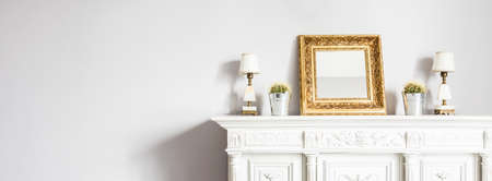 commode: White antique commode and mirror in golden frame isolated on a white background Stock Photo