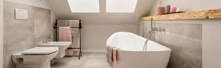 Beautiful attic bathroom in pastel and nude colours, with spectacular oval bath