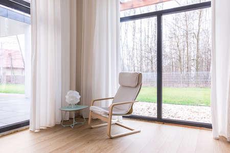 big windows: Modern living room with big windows