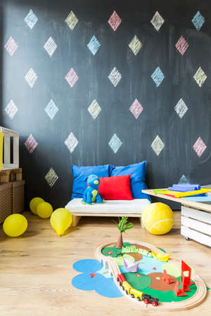 wall paper: Modern room of a young artist with colourful origami and yellow balloons