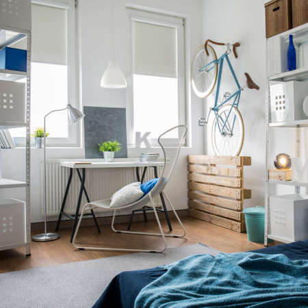 small room: Small room decorated with shades of blue