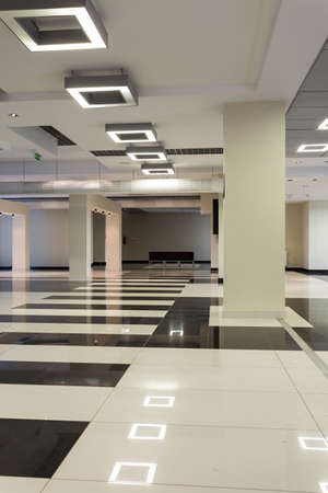 foyer: Very spacious empty hall tiled black and white