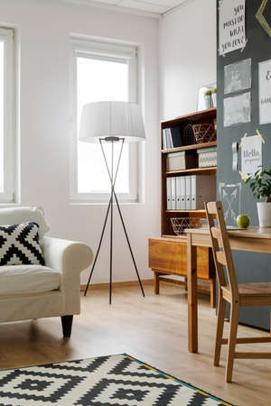 cropped shot: Cropped shot of a minimalistic living room interior full of light Stock Photo