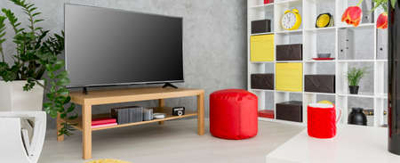 pouffe: New living room with television, white regale, red pouffe and decorative plants