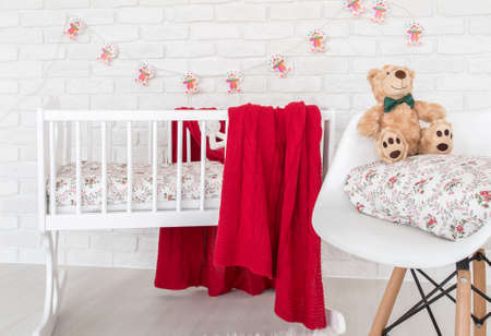 cropped shot: Cropped shot of a sweet childrens room interior with a cradle and a beautiful lights