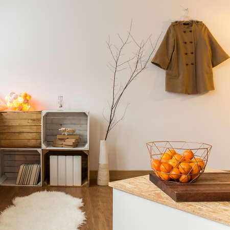 sheepskin: Contemporary decor of living room with wooden parquet and sheepskin. Unique shelves of natural hardwood Stock Photo