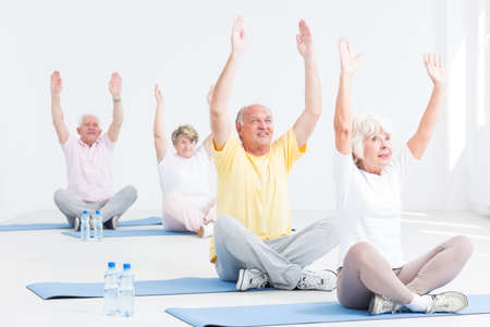 Group of active seniors during yoga workout, light interior
