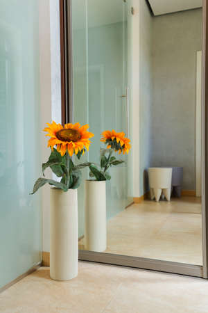 living room design: Shot of a sunflower in a high vase reflecting in the mirror