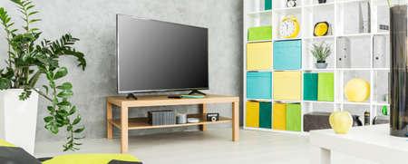 living grigio soggiorno con tv, Regale bianco e dettagli pastello
