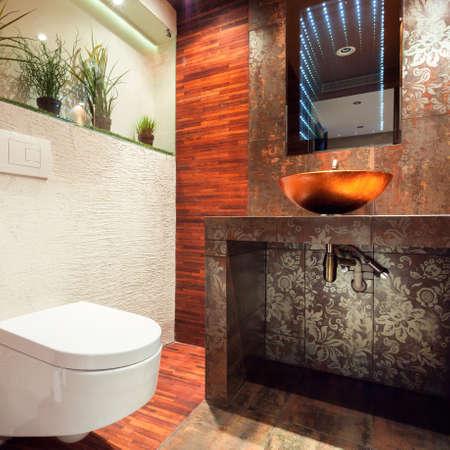 handbasin: Horizontal view of interior of modern bathroom