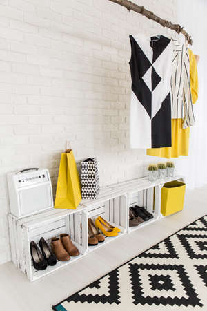 anteroom: Bright anteroom of a modern womans flat with furniture made of natural materials like wooden boxes