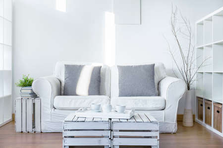 coffee table: Monochromatic living room with comfortable couch and coffee table made from wooden boxes