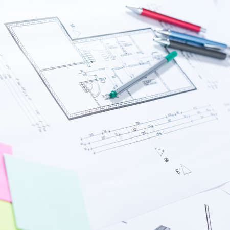 architectural drawings: Pens and architectural drawings on paper Stock Photo