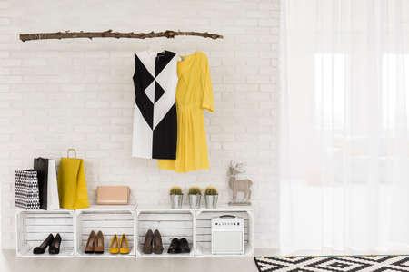 reciclable: Pared de ladrillo blanco en una sala de piso de una mujer moderna, con la percha de ropa y zapatero hecho de materiales reciclables