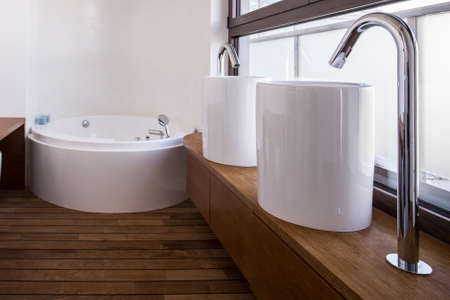 washbasins: Close-up of modern washbasins in luxury bathroom