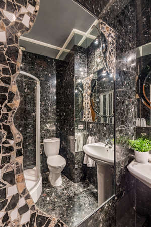 fitted unit: Fitted mirror surrounded with mosaic, reflecting luxurious bathrooms dark interior