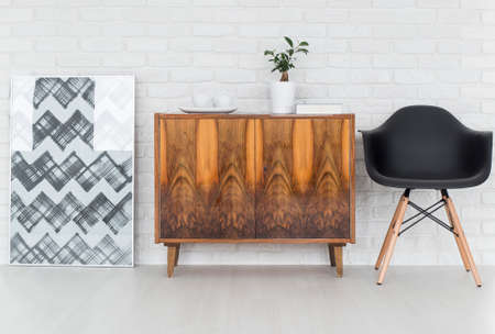 commode: Graphic,wooden commode,aerodynamic armchair- trendy design idea