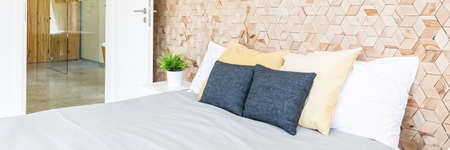 bedhead: Bright bedroom interior with the marital bed with cushions, wooden wall on a bedhead and other room entry
