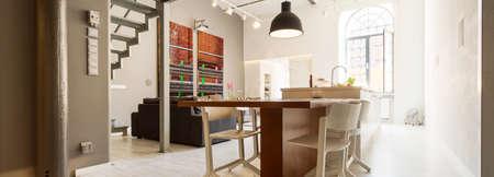 natural light: Multifunctional open space in trendy studio flat design Stock Photo