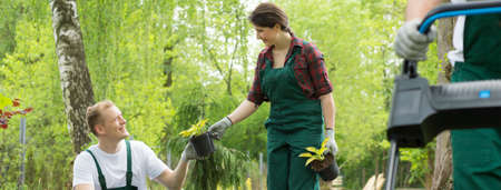 greenpeace: Shot of happy gardeners helping each other while working in a garden