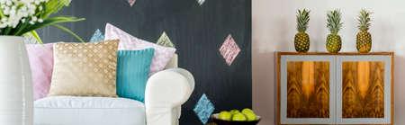 original idea: Original living room idea with inspiring decorative furniture Stock Photo