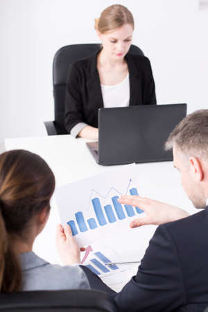 new strategy: Business colleagues discussing new strategy in conference room Stock Photo