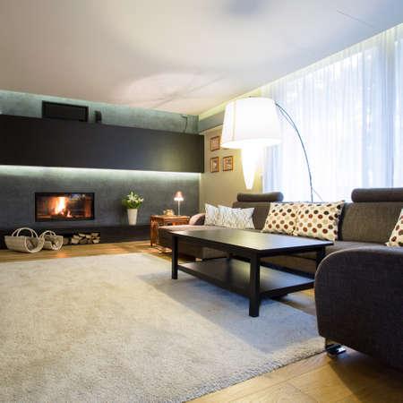 Gran habitación familiar con alfombra blanca suave en piso de madera
