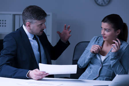 violence in the workplace: Physical pressure at work- boss screaming at female employee