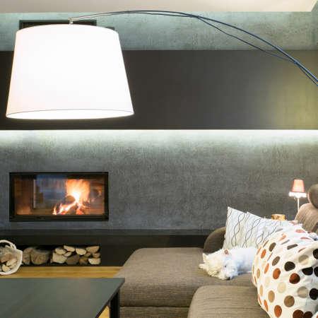 luxury living room: Designed lamp in modern luxury living room Stock Photo