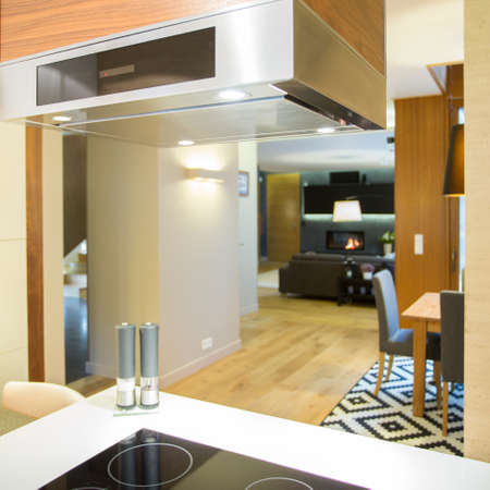 hob: Induction hob and hood in modern kitchen