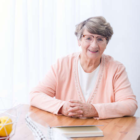 afflictions: Image of old positive woman with health afflictions Stock Photo