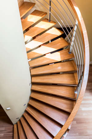 chromed: New design wooden staircase with simple railing with chromed details
