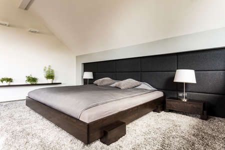 bedroom wall: Simple new design bedroom with japanese style bed, carpet and upholstered wall