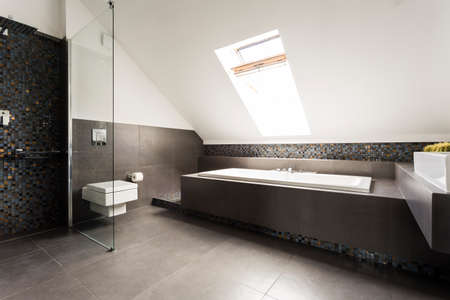 New design attic bathroom in black and white with shower, bathtub and toilet