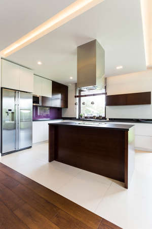 kitchen island: Light and spacious modern open kitchen with island