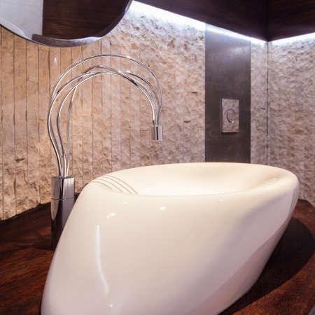 handbasin: Very modern washbasin in the bathroom of the house