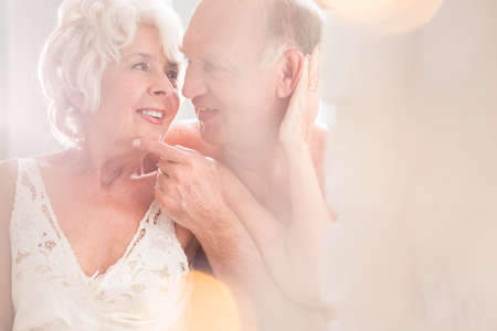 men sex: Shot of a senior couple looking at each other affectionately