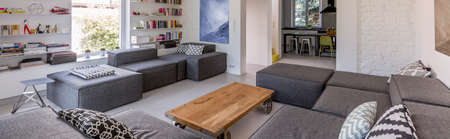 extra large: Spacious living room with comfortable extra large couch and small wooden table, panorama