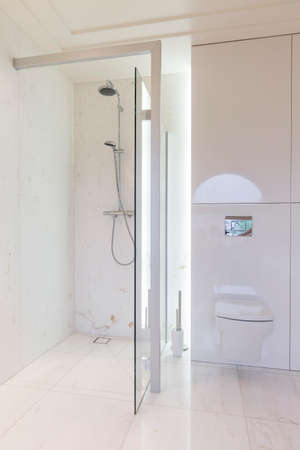 moulded: Bright and minimalist bathroom design with glass shower screens and a wall mounted toilet