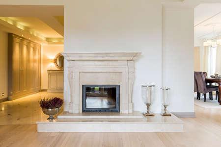 Krásně tvarovaný krb obklopuje v klasickém stylu ve velice prostorné místnosti, která obklopuje obrovskou předsíň