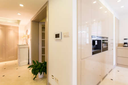 bordering: Modern villas anteroom with light control panel, bordering a creamy kitchen with built in coffee maker