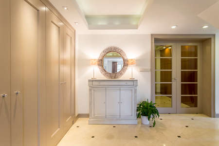 anteroom: Luxurious and spacious anteroom with fitted wardrobe, large drawer with a mirror, and glass door