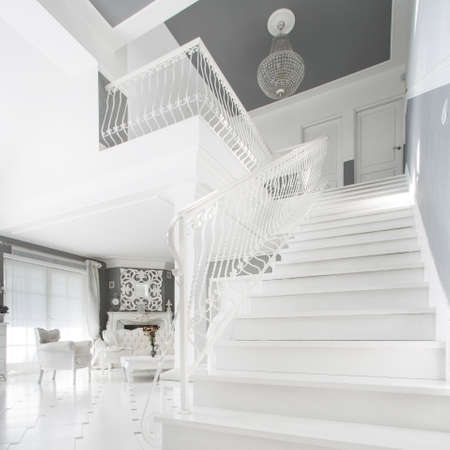 expensive: View of white staircase in expensive house Stock Photo
