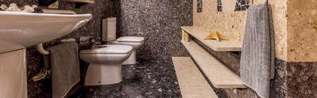 granite: Shot of a luxury bathroom interior with granite floor and walls Stock Photo